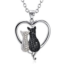 Angel caller Cute 925 Silver Jewelry Double Two-tone Cat Pendant Cubic Z... - $25.20