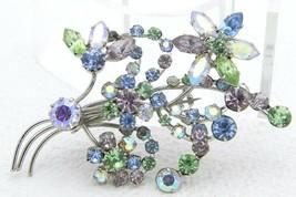 VTG AUSTRIA Signed Silver Tone Pastel AB Crystal Rhinestone Large Flower... - $84.15