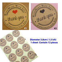 Hand made with love sticker kraft paper wedding thank you labels - $1.59