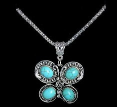 Blue Turquoise Butterfly Pendant Necklace Silver Chain Lady Retro Bijoux Jewelry - $12.86