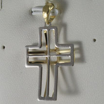 SOLID 18K WHITE & YELLOW GOLD CROSS, FINELY WORKED STYLISED 1.26, MADE IN ITALY image 3