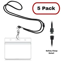 MIFFLIN Safety Lanyards with Horizontal ID Badge Holders 5 Pack, Satin B... - $4.94
