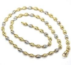 Cadena Oro Amarillo Blanco 750 18K, 50 cm, Náuticos, Marina, Óvalos Alte... - $1,659.37