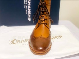 Handmade Men's Brown High Ankle Lace Up Wing Tip Leather Boot image 5