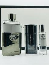 Gucci Guilty Pour Homme Cologne 3.0 Oz Eau De Toilette Spray 3 Pcs Gift Set image 3