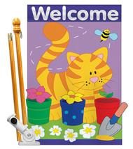 Garden Cat - Applique Decorative Pole Bracket House Flag Set HS110037-P2 - £46.44 GBP