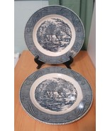 Lot 2 Royal China Cavalier CURRIER & IVES BLUE AND WHITE CABIN Dinner Plates - $18.67