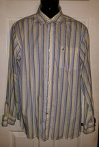 Mens Nautica Long Sleeve Striped Button Down Dress Shirt Size XL - $10.40