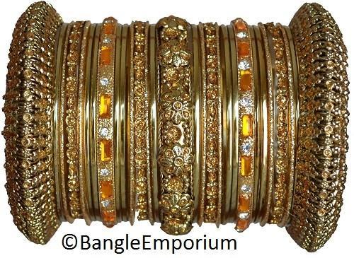 Primary image for Indian Bridal Collection Panache' Indian Gold Bangles Set in Gold Tone Chicago