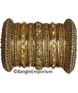 Indian Bridal Collection Panache' Indian Gold Bangles Set in Gold Tone C... - $39.99