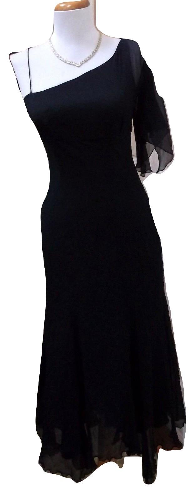 NWT - EXPRESS Ladies' Black 100% Silk One Shoulder Asymmetric Dress Size 1/2 - $34.99