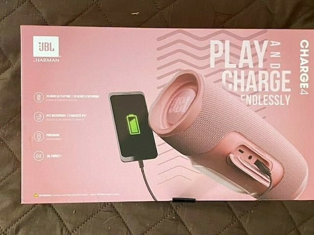 JBL Charge 4 Portable Bluetooth Speaker - Pink Brand New