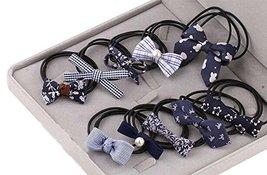 10Pcs Lovely Bowknot Girls Ponytail Holder Women Elastic Hair Ties, Navy