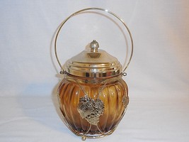 Musical Biscuit Jar Amber Glass w/Brass Accents... - $29.02