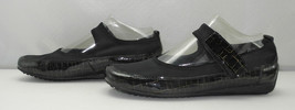 Helle Comfort Black/Gold Mock Croc Patent Leather Mary Janes - Women's 6.5/37 - $25.60