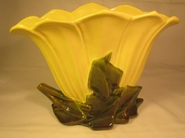 Vintage Ceramic 1950s McCOY POTTERY Free Form FLOWER PLANTER Yellow & Gr... - $62.27