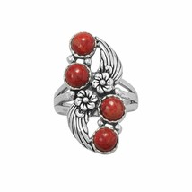 .925 Sterling Silver Floral Design Dyed Red Coral Women's Ring - $67.96