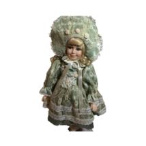 Vintage Doll Long Sleeve Green Lace Dress Big Hat Neck Ribbon Blonde Cur... - $39.59