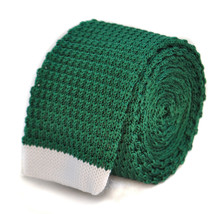 Frederick Thomas dark green skinny knitted tie with white tip FT2018
