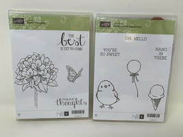 Stampin' Up! Honeycomb Happiness & Best Thoughts Stamp Set Flowers Butte... - $19.79