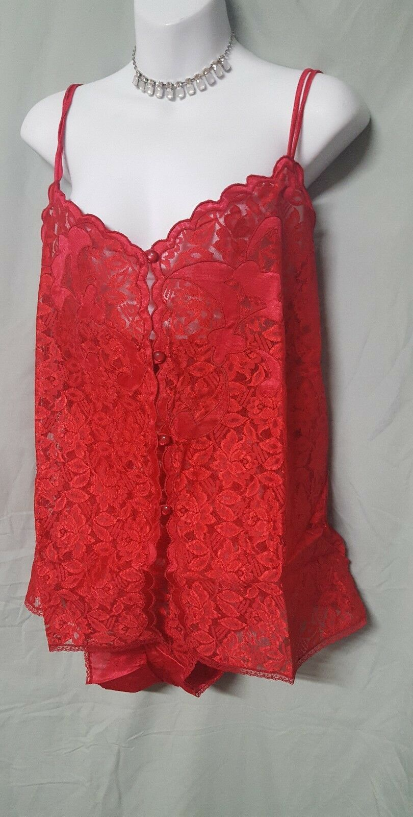 """SEXY RED SIZE 5X WOMENS LACE CAMISOLE WITH MATCHING LACE  PANTY 60"""" BUST"""