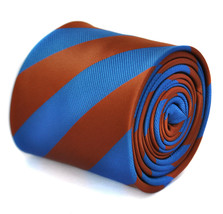 Frederick Thomas chocolate brown & royal blue barber stripe mens tie FT1879