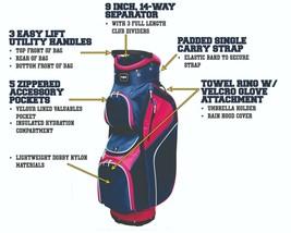 Majek Mujer Azul Marino Rosa Bolsa Golf 22.9cm 14-way Amistoso Separador... - $154.08