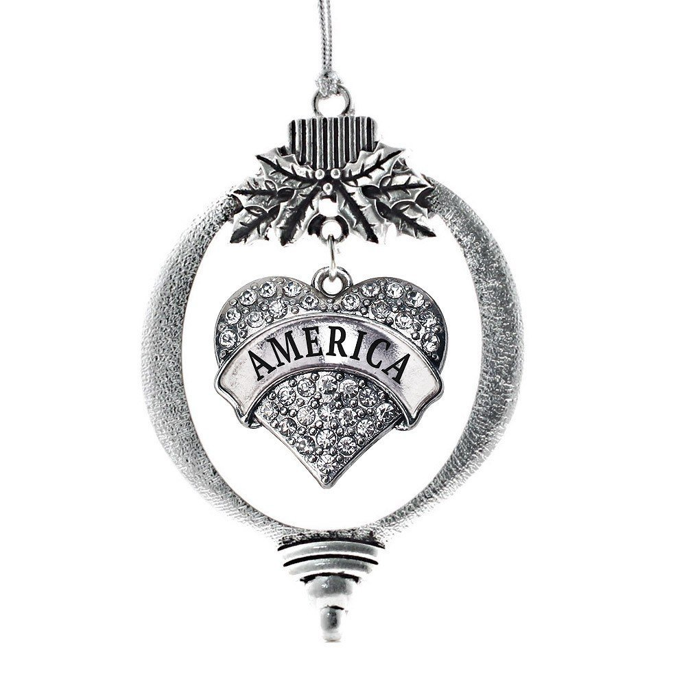 Primary image for Inspired Silver America Pave Heart Holiday Christmas Tree Ornament With Crystal