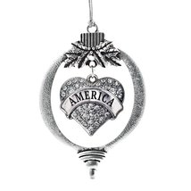 Inspired Silver America Pave Heart Holiday Christmas Tree Ornament With ... - $14.69