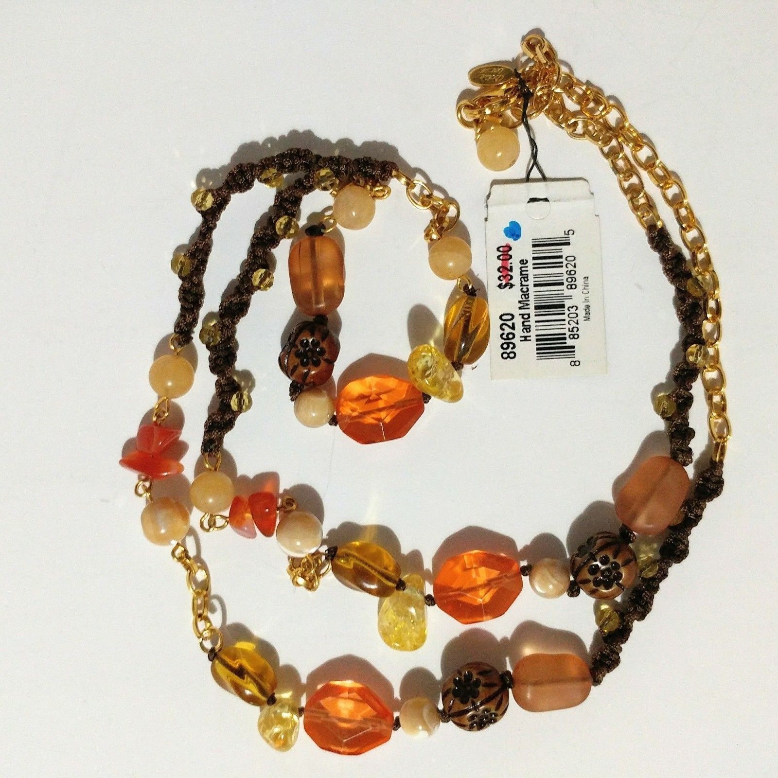 "Cookie Lee Necklace Long 36"" Hand Knotted Macrame Boho Hippie NWT"