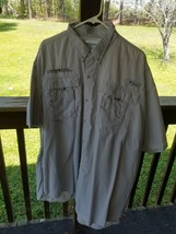 Men's fishing shirt size 2XL by Columbia gray polyester short sleeve - $29.95
