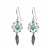 925 Sterling Silver - Dream Catcher Drop Earrings for Women in Gift Box - $14.00