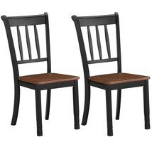 2 Pcs Solid Whitesburg Dining Chairs Spindle Back Wood Seating-Black - C... - $225.42
