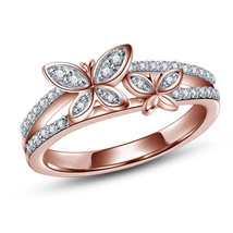 Butterfly Womens Engagement Ring 14k Rose Gold Finish 925 Sterling Solid Silver - $64.99
