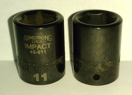 "Armstrong 45-011 1/4"" Drive 6 Point Impact Socket 11mm USA 2PCS - $2.97"