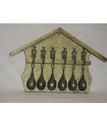 Vintage 6 Pewter Spoons with Gold Colored Wood Display Wall Rack Made in... - $26.14