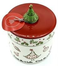 Deck The Halls Pillar Candle In Holder Jar Lid Ceramic Christmas Ornamen... - $14.84