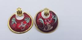 Vintage 1980s Round Red Floral Swirl Enamel Painted Swirl Pierced Earrin... - $14.47