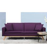 Sofa Bed Convertible Lounger Purple Linen Modern Couch Sleeper Futon Lov... - $248.98