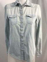 American Eagle Outfitters Light Blue Chambray Western Look LS Shirt Size XS - $14.94