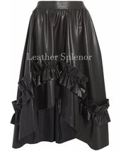 Gathered Detail Women Hi-Low Leather Skirt
