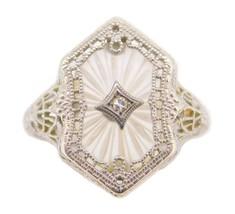 Art Deco 10k Gold Filigree Genuine Natural Crystal Quartz Ring (#J3999) - $427.50