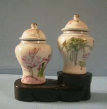 Miniature ceramic ginger jar cherry blossoms & bamboo motif new 2 - $22.80