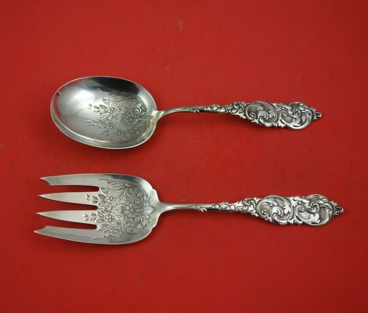 Primary image for Gladstone by Amston Sterling Silver Salad Serving Set 2pc with Embossed Flowers