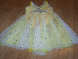 Size XL Child Revolution Dancewear Yellow Sequined Skirted Dance Skating... - $48.00