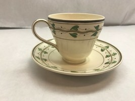 Wedgwood Demitasse James Powell & Sons Tea Cup And Saucer With Green Leaf Design - $35.63