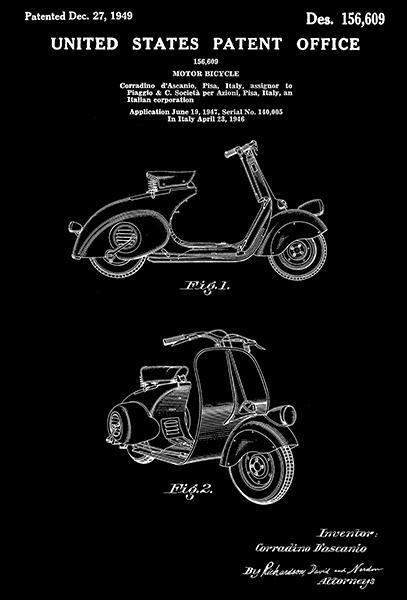 Primary image for 1949 - Piaggio Motor Bicycle - C d'Ascanio - Patent Art Poster