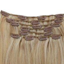 RUNATURE Clip on Human Hair Weft Extensions 14 Inches 100g 9pcs 16P24 Piano Colo image 5
