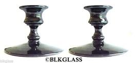 Ebony Black Glass Candlesticks Classic Candleholders - $17.99