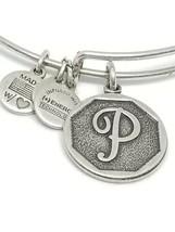 alex and ani bracelet silver tone Initial P Charm Bangle Signed Designer... - $19.79